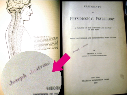 Dr. Ladd's Physiological Psychology that was once owned by Joseph Jastrow