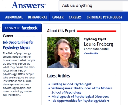 Here I am at ANSWERS.com. I am the content expert writer in Psychology. Questions or suggestions, please let me know.