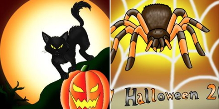 Our daughter Karla drew these great pictures to bring in Halloween. A time to gift strange and strange kids with chocolate!
