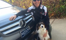 Ronnie the SuperDog approves of Mom's new MB B series electric car.